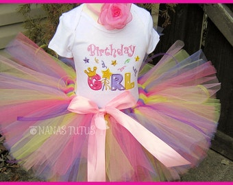 Custom, Birthday Girl, Party Outfit, Party Tutu, Birthday Tutu, Tutu Set, Theme Party in Sizes to 6yrs