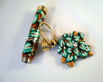 Key Fob with Secret Compartment and Leaf Charm