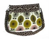 Organic Handmade Sophisticate Cross Body Purse - Brown Blossom with Retro Flowers - Free Shipping