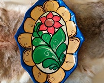 Vintage Hand Painted Mexican Plate Wall Hanging