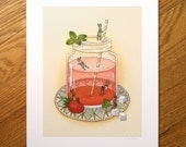 Summer Strawberry Swim - Fine Art Print
