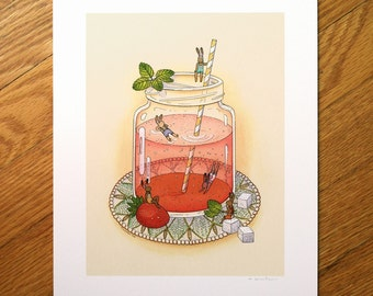 Summer Strawberry Swim - Fine Art Print