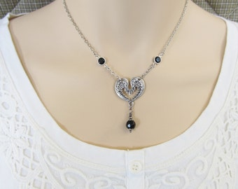 Winged Heart Necklace with Swarovski Crystals, Angel Wing Choker