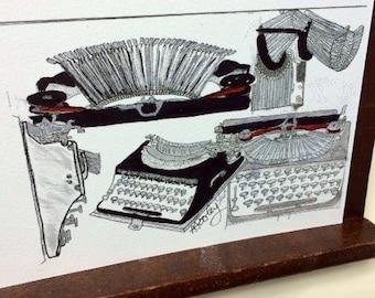 Typewriter 4 x 6 inch watercolor print