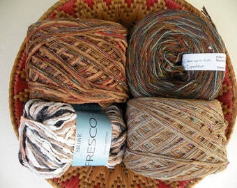 4 Yarn lot destash: cotton blend CLOVE CAKES dark brown tan beige DK worsted tribal rustic art autumn men's yarns Sirdar Fresco, Tucson