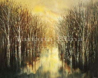 Hand embellished giclee print on CANVAS of original landscape painting textured stretched ready-to-hang forest water - by Tatiana Iliina