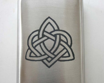 Heart Triquetra 8oz Laser Engraved Flask Celtic Knot Etched Stainless Steel