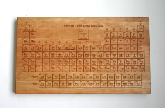 Periodic table engraved cherry cutting board by monkeysjewels - Periodic table chopping board ...