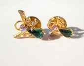 Christmas Guardian Angel Brooch Pin Set of 2 Vintage xmas jewelry
