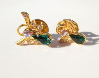 Christmas Guardian Angel Brooch Pin Set of 2 Vintage xmas jewelry