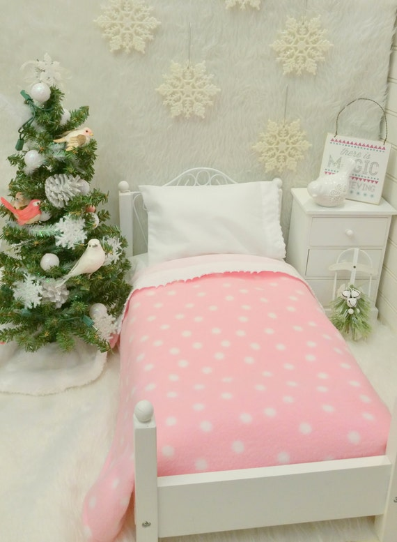 18 inch Doll sized Fleece Blanket and sheet set