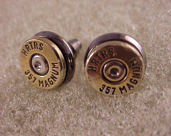 Bullet Earrings Herters 357 Magnum Brass Shell Recycled Upcycled - Free Shipping to USA