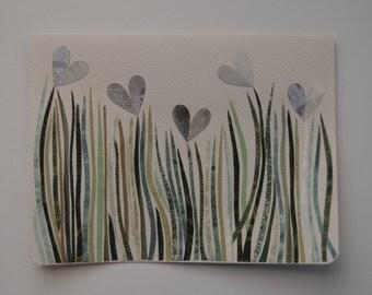 Silver Hearts Flower Garden Note Card, OOAK, Original Hand Cut Vintage Wallpaper, Spring Wildflowers, Windy Day, Occasion, Unique, Summer