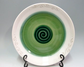 Green Dinner Plates with Swirling Rim 11 inches