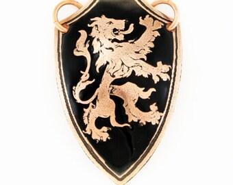 SALE-Lion pendant, shield pendant, heraldry pendant, copper pendant, Scottish Lion, Scottish pendant, lion rampant, lion shield