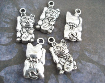5 Silver Maneki Neko Lucky Cat Charms