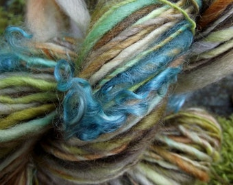 Handspun art yarn, Hand painted handmade BFL wool yarn mohair locks, worsted, thick and thin-Spring Chicken