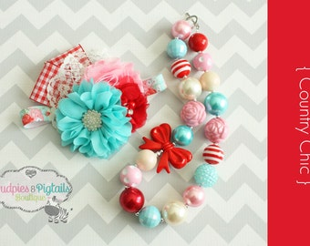 Picnic Baby girl Headband, Chunky Necklace { Country Chic } red plaid gingham, pink aqua, cream First Birthday, Cake smash, photography prop