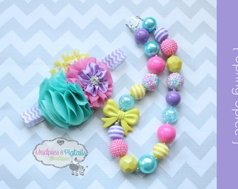 Unicorn Baby Headband OR Chunky Necklace set { Spring Spree } Paste rainbow, easter, First Birthday, Cake smash, photography prop
