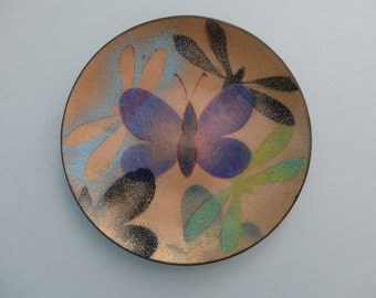VINTAGE 1960s enamel copper TRAY with butterflies and dragonflies