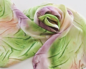 Hand Painted Silk Scarf - Handpainted Scarves Purple Green Eggplant Plum Olive Garden Lime Pastel Peach Orange White Cream Orchid Lily