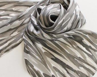 Hand Painted Silk Scarf - Handpainted Scarves Black White Gray Grey Silver Charcoal Pewter Zebra Stripe Striped Neutral