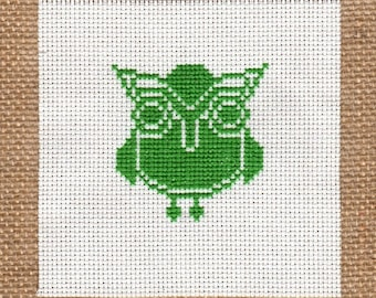 Cross stitch pattern LITTLE OWL - needlecraft,cross stitch,baby gift,kids room,easy cross stitch,scandinavian,nursery,green,Anette Eriksson