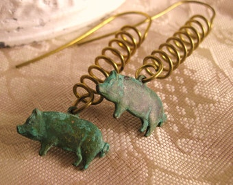 PIG EARRINGS VERDIGRIS pig jewelry this little piggy cute earrings birthday gift for her little piggies vintage handmade animal lovers green