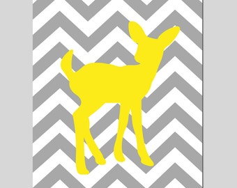 Baby Deer Fawn Silhouette Chevron - Nursery Art Print - 8x10 - CHOOSE YOUR COLORS - Shown in Gray and Lemon Yellow