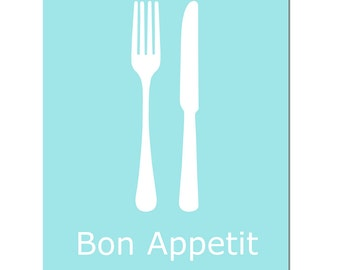 Bon Appetit - 11x14 Utensil Kitchen French Quote Print - CHOOSE YOUR COLORS