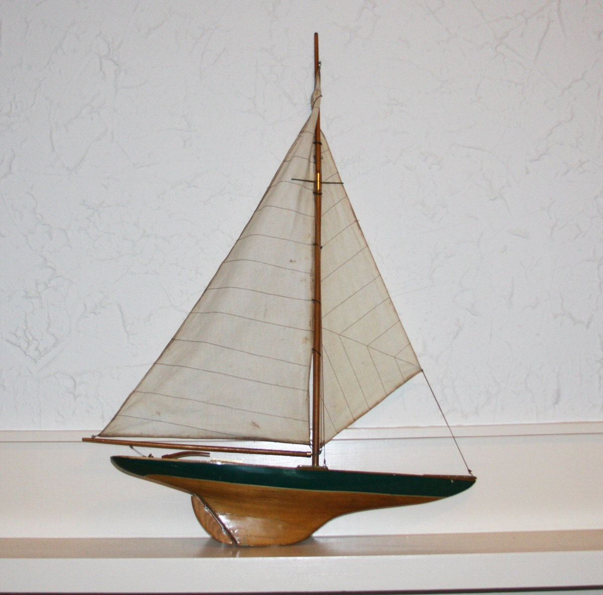 Vintage Wooden Sailboat Large Nautical Decor By