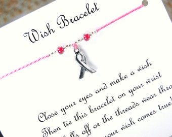 Awareness Ribbon - Wish Bracelet - Shown In BUBBLEGUM - Over 100 Different Colors Are Also Available