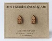 Little house earrings - DAILY SALE! - alder laser cut wood earrings