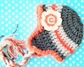 Children Earflap Hat with Flower Orange and Gray Striped Kids Hat Hand Made Children Hat Christmas Gift Winter Hat for Kids