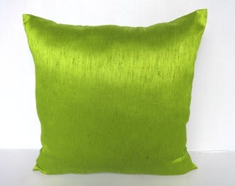 Lime Green art silk pillow cover. Deceretive cushion cover  bright lime throw  cushion cover 20 inch on 20 % discount for set of 2 pcs