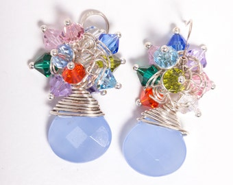 Clear Blue Sky Sterling Silver Wire Wrapped Cluster Earrings