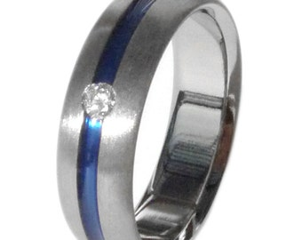 Titanium Wedding Band or Engagement Ring - Blue Band with Diamond - s19