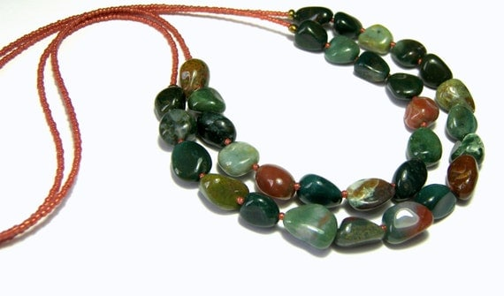 Cyber Monday Sale Fancy Jasper Chunky Necklace Double Stranded Necklace Jewelry for Women Statement Jewelry Gift Ideas