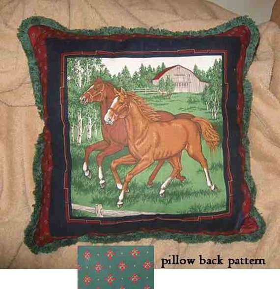 Final Markdown Sale...HORSE DUO w/green trim Horse Decorative Pillow...Price Greatly Reduced