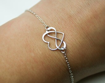 Infinity Heart Bracelet in Sterling Silver - Friendship Bracelet - Adjustable Sterling Silver Infinity Bracelet