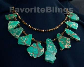 Green Imperial Jasper Necklace OOAK Chic Chunky Freeform Slices Variscite Slabs Unique Statement FavoriteBlings Handmade