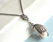 Pearl Silver Flower Bud Necklace - Floral Jewelry, Nature Jewelry