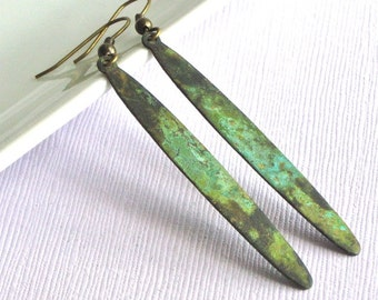 Long Patina Earrings -  Drop Earrings, Brass, Patina Jewelry, Verdigris