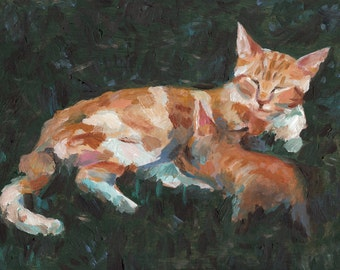 Mother and baby- pet painting- pets art- cats paintings  -  Original painting on wood- art painting - animal painting