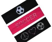 Soccer Fan Set of 3  Cotton Stretch Rhinestone Patch Headbands