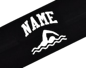 Design Your Own Custom SWIM TEAM Cotton Stretch Headband with Your Personalized Name VARSITY Font - Your Custom Colors