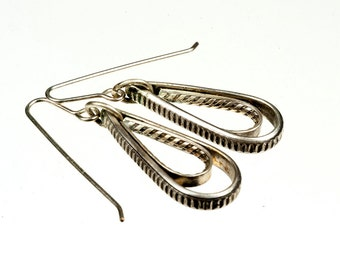 Handmade Sterling Silver double hoop drop earrings