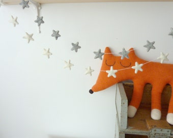 Ready to be sent-Wonderful little felt star garland by The Butter Flying - White or Grey Star Garland Rain Cloud Mobile Nursery Children
