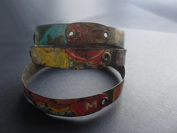 Bricolage 3. Riveted tin bangles. Set of three. Salvaged colorful vintage.