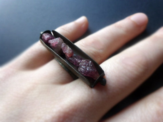 A Thousand Hearts. Rough raw RUBIES salvaged tin ring, horizontal.
